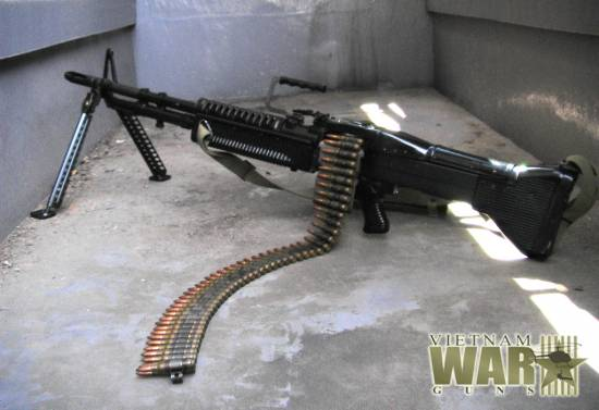 M60 machine gun with dummy 7.62 mm ammo belt