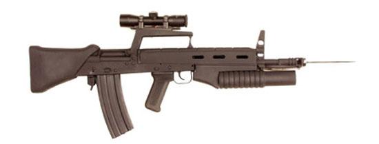 Штурмовой карабин Бакалова ЩКБ с установленным подствольным гранатометом и примкнутым штык-ножом
