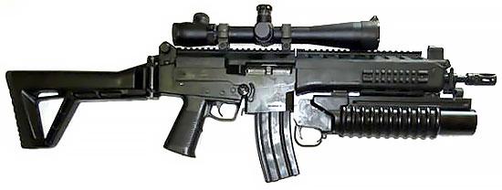 Fz Ass 5,56 IA2 с установленным оптическим  прицелом и подствольным гранатометом