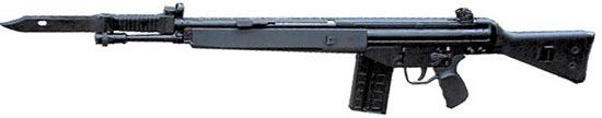 HK G3A3 с модернизированным цевьем и установленным штык-ножом