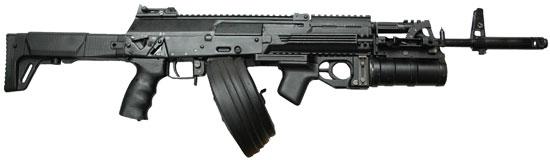 АК-12 с подствольным гранатометом и барабанным магазином емкостью на 95 патронов