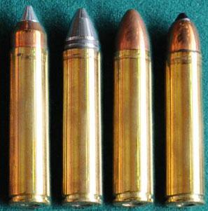 патроны 12.7х55 для штурмового автомата АШ-12 (слева направо - с легкой пулей, двухпульный, с тяжелой пулей, с бронебойной пулей)