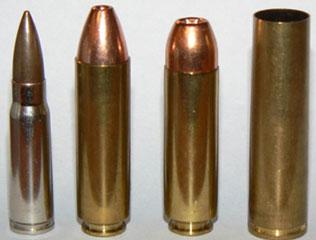 гильза патрона 12.7х55 (справа) в сравнении с патронами .499 LWR, .50 Bushmaster и 7.62х39