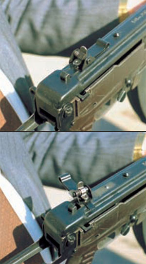 вид на прицел в боевом положении (сверху) и при разборке автомата (снизу)