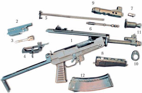 Неполная разборка малогабаритного автомата МА конструкции Е. Ф. Драгунова: 1 – ложа со ствольной коробкой, стволом и прикладом; 2 – затворная рама; 3 – затвор; 4 – ударно-спусковой механизм; 5 – возвратный механизм; 6 – толкатель; 7 – пробка газовой каморы; 8 – цевье; 9 – накладка цевья; 10 – передний упор цевья; 11 – пламегаситель; 12 – магазин.