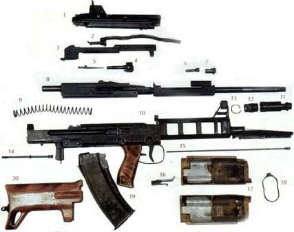 Основные узлы и детали ТКБ-0146: 1-крышка ствольной коробки с УСМ; 2-возвратный механизм; 3-затворная рама; 4-затвор; 5-ударник; 6-газовый поршень; 7-заглушка газовой камеры; 8-ствол со ствольной коробкой; 9-возвратная пружина; 10-кожух ствольной коробки; 11-дульный тормоз-компенсатор; 12-соединительнай муфта; 13-пружина муфты; 14-шток крепления приклада; 15-шомпол; 16-рукоятка взведения затвора; 17-накладки цевья; 18-фиксатор накладок цевья; 19-магазин; 20-приклад.