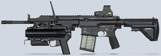 HK417 (вариант Recce) со стволом длиной 406 мм и установленным гранатометом и коллиматорным прицелом