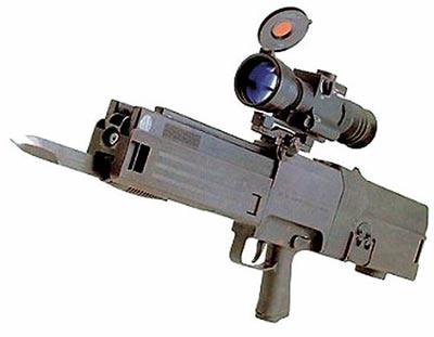 HK G11K2 с установленным штык-ножом и оптическим прицелом