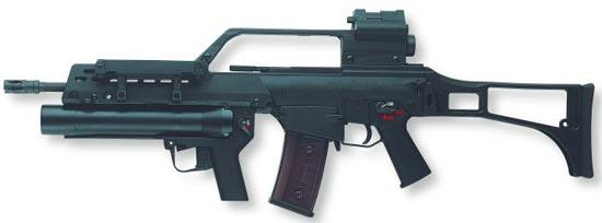 HK G36 со сдвоенным оптическим / коллиматорным прицелом и подствольным 40-мм гранатометом AG36
