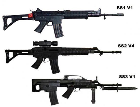 варианты винтовок комплексов SS-1, SS-2 и SS-3 (сверху вниз)