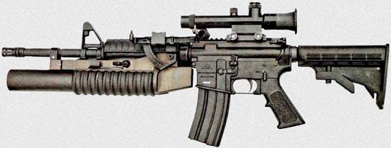 CQ 5.56 Type A (CQ-A) с установленным подствольным гранатометом и оптическим прицелом вместо ручки для переноски