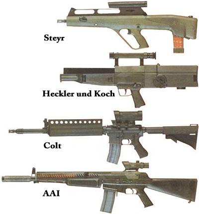 штурмовые винтовки принимавшие участие в программе ACR, фирм Steyr, Heckler und Koch, Colt, AAI