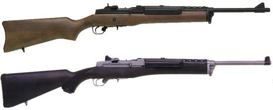 Ruger «Ranch rifle» раннего (сверху) и более позднего (снизу) выпуска