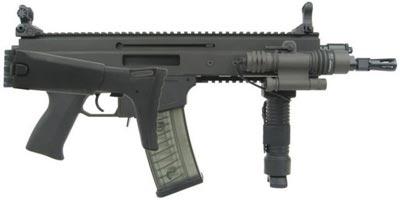укороченный автомат (карабин) CZ 805 BREN A2, приклад сложен, целик и мушка в боевом положении