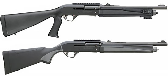 Remington R12-E (Entry) в варианте с прикладом с полупистолетной шейкой (снизу) и с отдельной пистолетной рукояткой (сверху)