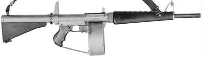 Atchisson assault shotgun (прототип 1972 года) с 20-зарядным барабанным магазином