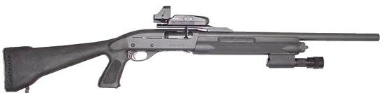 Remington 11-87 Tactical со стволом 508 мм., с пистолетной рукояткой, прицелом Bushnell HoloSight и тактическим фонарем на цевье под стволом