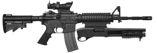 Masterkey Remington 870MCS в качестве вспомогательного оружия под стволом карабина M4A1