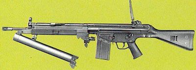 HK79 дульная часть ствола гранатомета откинута для перезарядки