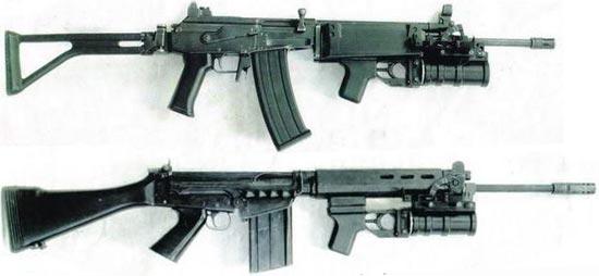 ГП-30У «Гранат» установленный на штурмовой винтовке Galil (сверху) и FN FAL (снизу)