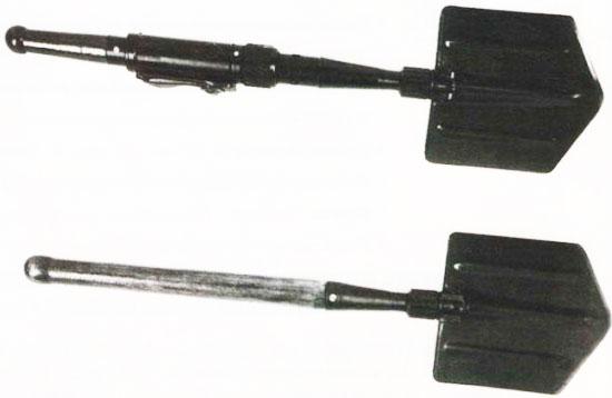 лопата-гранатомет «Вариант» (вверху) складная малая пехотная лопата (внизу)