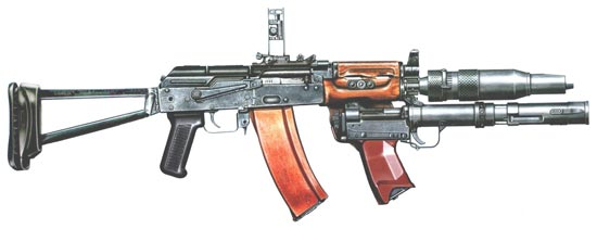 стрелково-гранатометный комплекс 6С1 Канарейка: автомат АКС-74УБ глушитель ПБС-4 подствольный гранатомет БС-1М. Гранатометный прицел в боевом положении.