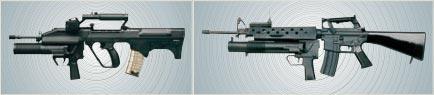 CIS 40GL установленный на SAR 21(слева) и M16 (справа)