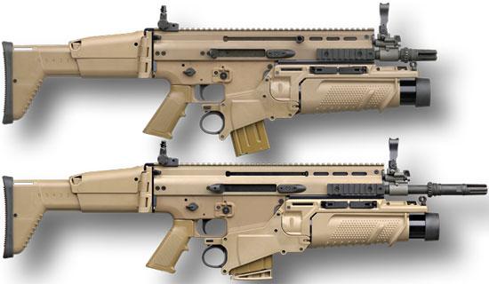 SCAR-L с установленным FN40GL-L (сверху) SCAR-H с установленным FN40GL-H (снизу)