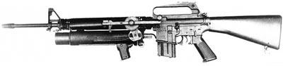 XM-148/Colt CG-4 установленный на винтовке М16