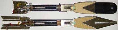 Гранаты M6A3 (сверху) и M6A1 (внизу) в разрезе