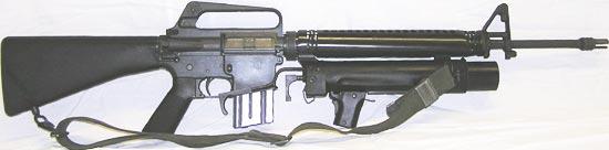 XM148 установленный на винтовке M16