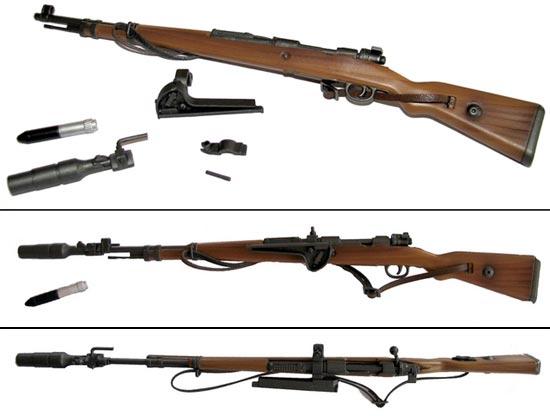общий вид Gewehrgranatgerät (Schiessbecher) с карабином Mauser 98K и малой ружейной гранатой GewehrPanzergranate 30