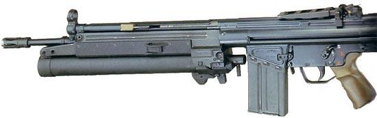 HK79 установленный на штурмовой винтовке HK G3