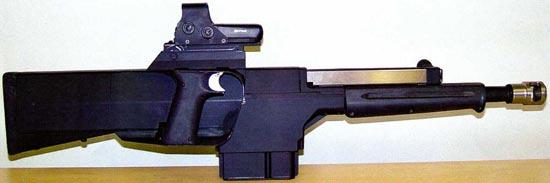 PAW-20 в боевом положении с коллиматорным прицелом