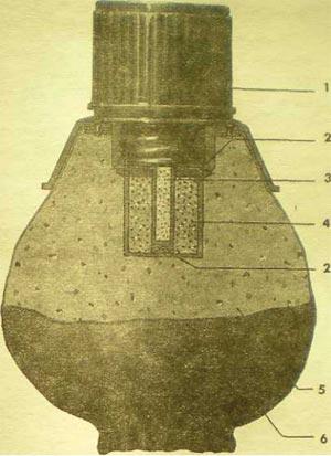 1 - предохранительный колпачок запала; 2 - шерстяные прокладки; 3 - детонатор; 4 - дополнительный детонатор; 5 – заряд ВВ; 6 – мешок.