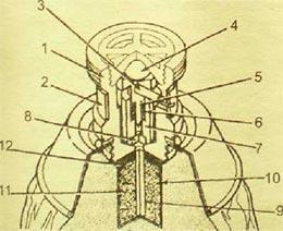 1 - корпус взрывателя; 2 - предохранительная лента; 3 - предохранительная чека; 4 - инерционное тело; 5 - ударник; 6 - контрпредохранительная пружина; 7 - втулка; 8 - капсюль-воспламенитель; 9 - капсюль-детонатор; 10 - корпус дополнительного детонатора; 11 - дополнительный детонатор.