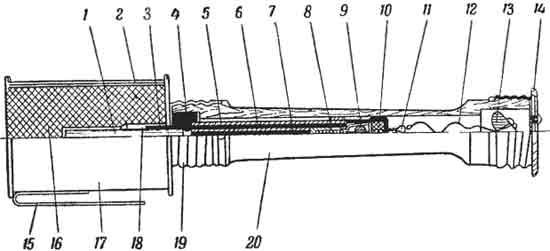 устройство гранаты Hardjoituskranaati M41 1 - капсюль-детонатор; 2 - сетка; 3 - запало-держатель; 4 - набивка (смола); 5 - корпус воспламеняющего механизма; 6 - бумажная гильза; 7 - замедлитель (бикфордов шнур); 8 - терочный состав; 9 - бусинка; 10 - терка; 11 - терка; 12 - тросик; 13 - кольцо; 14 - поддон; 15 - скоба; 16 - разрывной заряд; 17 - корпус гранаты; 18 - гильза под капсюль-детонатор; 19 - накатная гайка; 20 – рукоятка.