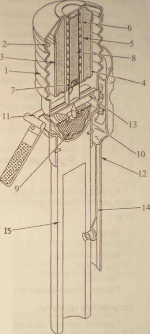 устройство гранаты Breda 40 1. корпус гранаты; 2. крышка корпуса; 3. внутренний футляр; 4. заряд ВВ; 5. направляющая трубка; 6. контрпредохранительная пружина; 7. капсюль-воспламенитель; 8. детонатор; 9. инерционное тело; 10. ударник; 11. предохранительная чека с вытяжным ушком; 12. предохранительный колпак с предохранительной скобой; 13. предохранительный засов; 14. пружина предохранительной скобы; 15. деревянная рукоятка.