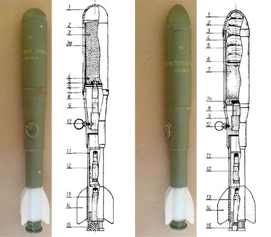 дымовая (слева) и осветительная (справа) гранаты M-62