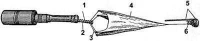 РКГ-3 во время полета: 1 - пружина стабилизатора; 2 - подвижная трубка; 3 - проволочные перья; 4 - матерчатый конус; 5 - откидной колпак с планкой; 6 - пружина колпака.