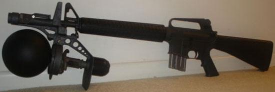 система RAW установленная на штурмовой винтовке M16