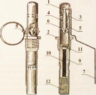 Запал УЗРГ 1. корпус взрывателя; 2. резьбовая втулка; 3. направляющая шайба; 4. боевая пружина; 5. ударник; 6. шайба ударника; 7. предохранительный рычаг; 8. предохранительная чека с кольцом; 9. корпус детонатора; 10. пороховой замедлитель; 11. капсюль-воспламенитель; 12. капсюль-детонатор.