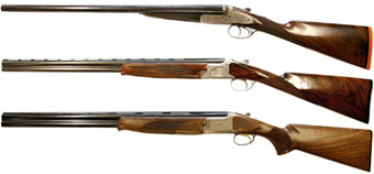 Churchill Coronation XXV, Browning B2G 20-bore, Browning 525 Classic Lightweight (сверху вниз)