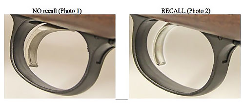 Спусковые крючки «правильной» (слева) и бракованной винтовок
