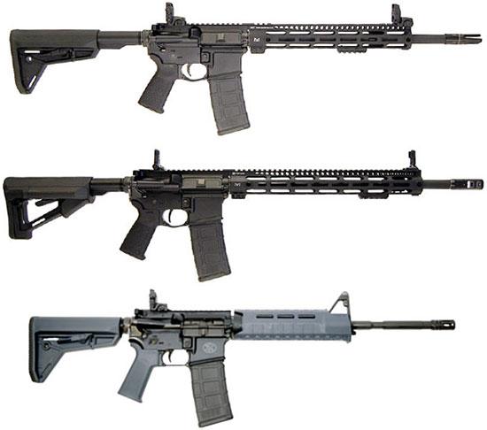 FN 15 Tactical, FN 15 DMR и FN 15 MOE SLG (сверху - вниз)