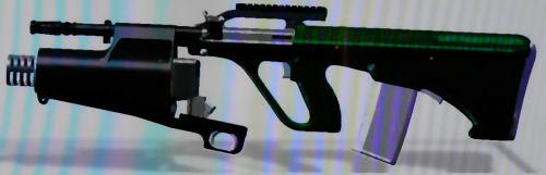гранатомет HVUGL, установленный на штурмовой винтовке Steyr AUG