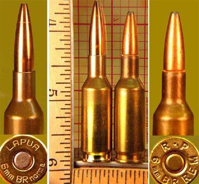 6 mm BR Norma (слева) 6 mm BR Remington (справа)