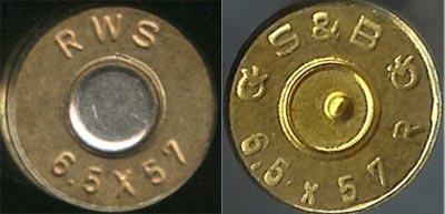 6.5x57 Mauser (слева) 6.5x57 R Mauser (справа)