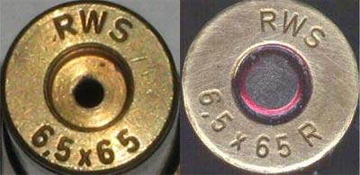 6.5x65 RWS (слева) 6.5x65 R RWS (справа)