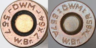 7x64 Brenneke (слева) 7x65 R Brenneke (справа)